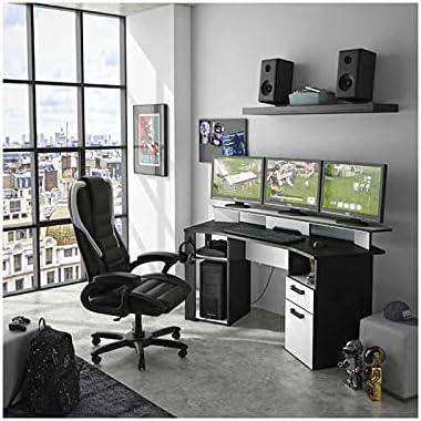 Tousmesmeubles Bureau Gamer Gris/Blanc - Vecchio - L 170 x l 67 x H 75/88 - Neuf