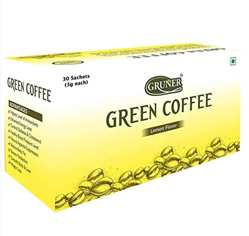 GRUNER Green Coffee Beans Powder || Natural Immunity Booster and Fast Weight Loss Instant Coffee Powder 30 Sachet Pack