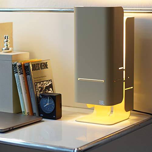 TEBTON® Made in Berlin   UNILIGHT1   Tisch-Lampe aus Aluminium wirft ein warmes gelbes Licht, LED Designer-Lampe, Energieklasse A++, in Weiß, 14 x 17,5 x 37 cm (LxBxH) (Beige)