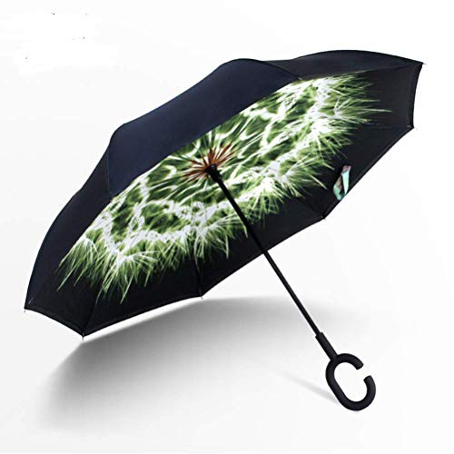 ZHANGYY Compact Windproof Umbrella 10 Rib Automatic On Off Big Umbrella Quick-Drying Waterproof Reinforced Travel Umbrella with Leather Protective Cover