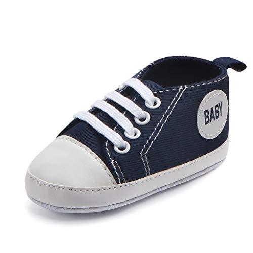 Babyschuhe Auxma Baby Schuhe Sneakers aus Leinwand mit weichen und rutschfesten Sohle Für 3-6 6-12 12-18 Monat (3-6 M, Blau)