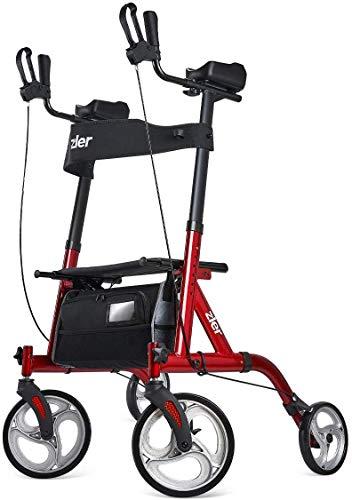"Zler Rollator Walker with Armrest, Tall Walker with 10"" Front Wheels, Folding Rollator Walker Back Erect Rolling Mobility Walking Aid with Backrest Padded Armrests for Elderly, Seniors Adults, Red"