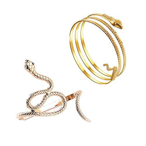 PPX 2 Stücke Green Eye Snake Serpent Hand Wrap Around Strass Armband und Metall Snake Armband Manschette Armreif Swirl Snake Armreif Oberarmmanschette Ägyptisches Kostüm Zubehör für Frauen