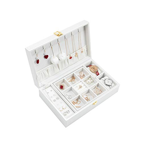 CHICAI Joyería de la caja de regalo de cumpleaños del regalo de cuero de la PU de viajes de joyas caja de joyería de la vendimia del collar del organizador del almacenaje Organizador armario con cerra