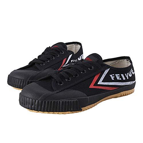 Willsky Zapatos De Artes Marciales, Tai-Chi Zapatillas De Deporte De Los Adultos Clásico Kung Fu Zapatos De Lona Antideslizante Moda Qigong Formadores,Negro,44