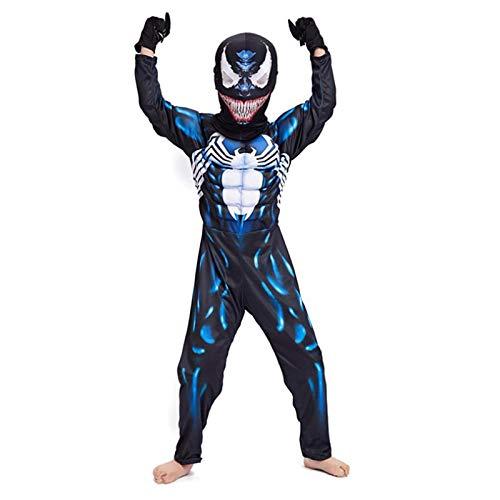 YUANY Disfraz de Spider-Man de Venom para niños, Conjunto de Traje de superhéroe, Mono de Anime, Mascarada, Onesies, Trajes de Cosplay,venom-130~140cm