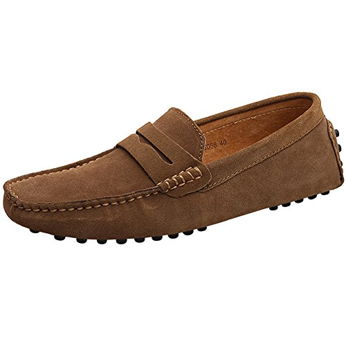 Jamron Hombres Cuero de Gamuza Penny Mocasines Comodidad Zapatos de Conducir Plano Pantuflas Marrón 2088 EU42