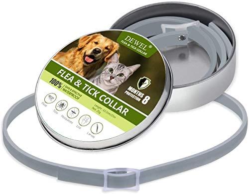 DEWEL Zeckenhalsband für Hunde Katze, 63.5cm Verstellbar Floh-und Zecken Halsbander, Wasserdicht mit 8 Monte Schutz, Anti-Zecken und Flöhe