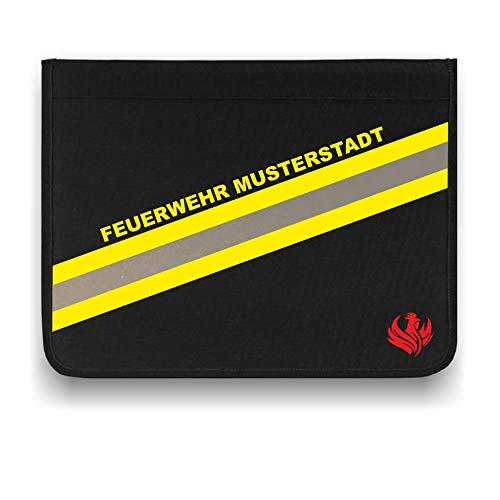 Roter Hahn 112 Personalisierbare Feuerwehr + Ortsname Schreibmappe Organizer Konferenzmappe HUPF Design Reflex