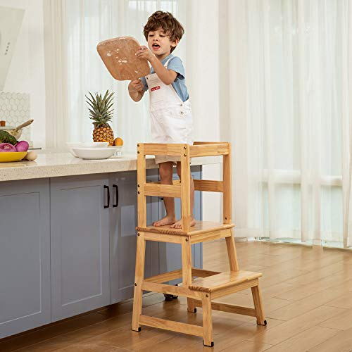 Kitchen Helper Step Stool for Kids and Toddlers with Safety Rail Children Standing Tower for Kitchen Counter Mothers#039 Helper Kids Learning Stool Solid Wood Construction Natural