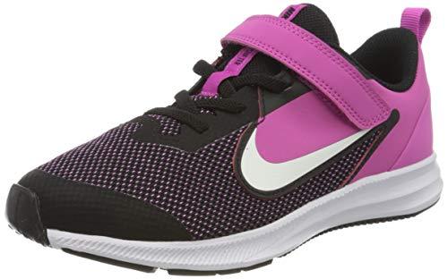 Nike Unisex-Kid's Downshifter 9 Pre School Velcro Running Shoe, Black/White-Active Fuchsia, 1Y Youth US Little Kid