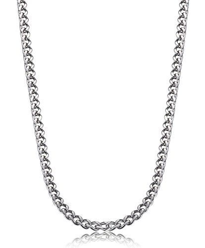 FIBO STEEL 3.5mm Stainless Steel Mens Womens Necklace Curb Link Chain, 20 inches