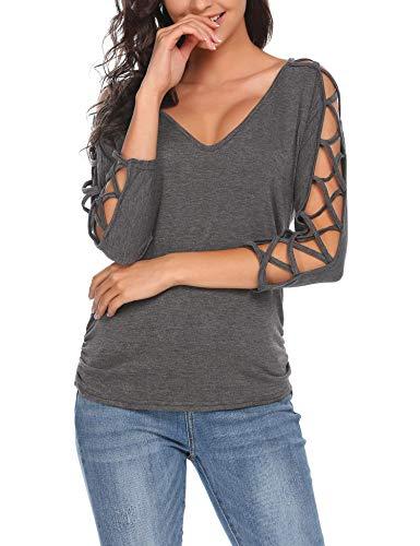 ELESOL Women's Open V Back Loose V Neck Hollowed Out Cold Shoulder Half Sleeve Tops Dark Grey/L