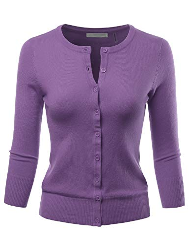 LALABEE Women's 3/4 Sleeve Crewneck Button Down Knit Sweater Cardigan Blueberry S