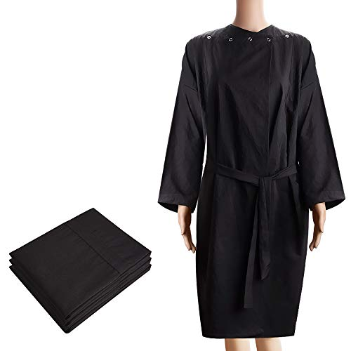 Noverlife 3 paquete de bata de cliente de kimono de masaje de spa, albornoz de salón a prueba de químicos al agua, bata de playa negra ligera, maquillaje de peluquería