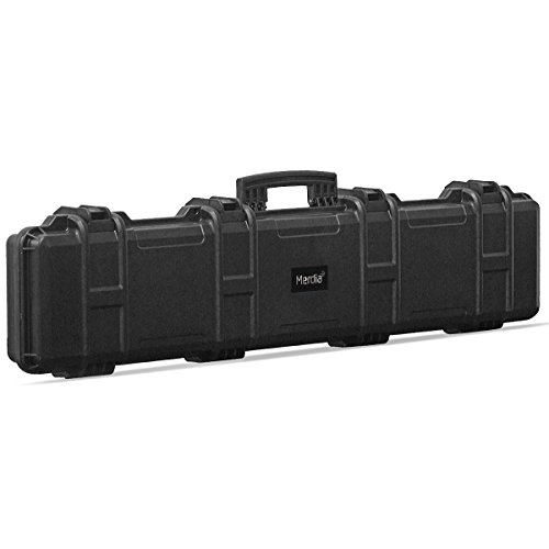 "Merdia All Weather Precision Hard Rifle Case Waterproof Ultra Protective Case with Precut Intensive Foam Gun Case 47.24""-Black"