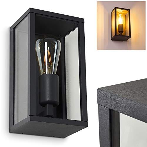 Außenwandleuchte Kiwalik, moderne Wandlampe aus Metall/Glas in Anthrazit, 1-flammig, eckige Wandleuchte mit E27-Fassung max. 60 Watt, Außenleuchte mit Lichteffekt für den Eingangsbereich