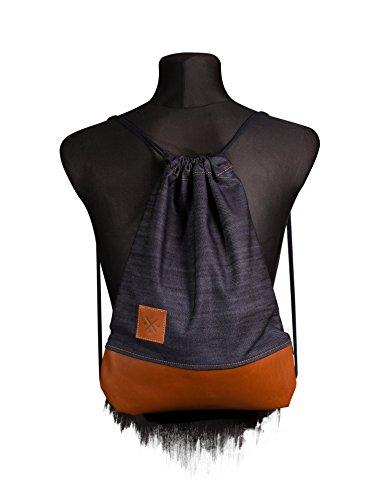 Manufaktur13 Denim Leather Sports Bag - Jeans/Leder Rucksack, Gym Bag, Turnbeutel,...