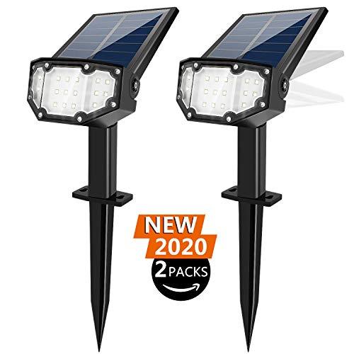 FLOWood Solarstrahler für außen 19 LED Solar Gartenleuchte Solarleuchte LED Strahler für außen Wandleuchte 2 Helligkeiten IP65 Kaltweiß 2 Stück