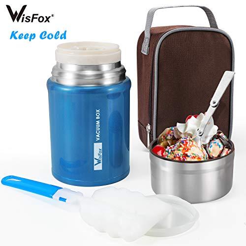 WisFox 750ML Thermobehälter für Essen Edelstahl Speisebehälter Speisegefäß Essensbehälter Isolierbehälter Box mit, Aufbewahrungstasche und Schwammbürste(Blau)