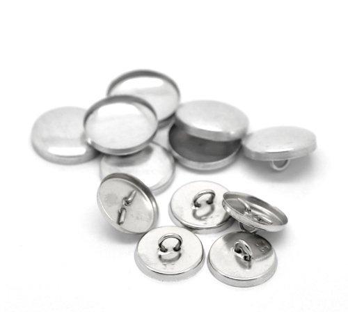 SiAura Material ® - 10 Sets Aluminium Knöpfe zum Überziehen, silberfarben, Ø ca. 19mm, Rückwand 17mm