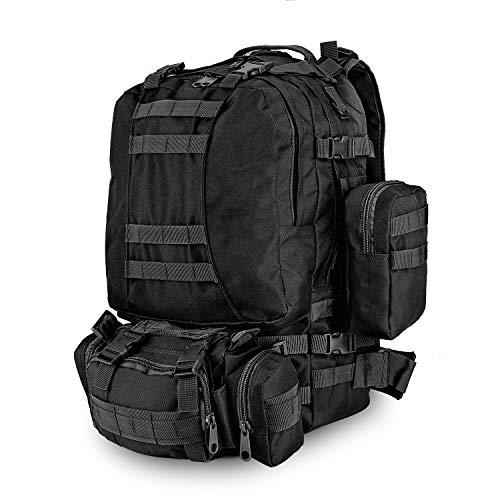Flexzion 3-in-1 Tactical Backpack (Black) 55L Large Army Assault Pack w/Detachable Shoulder Messenger Bag 2 Side Packs, MOLLE Gear Attachment System, Bug-out Bag Daypack Rucksack for Outdoor Hiking