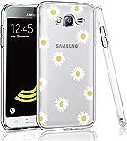 SUMIXON Funda para Galaxy J3 2016, fina, transparente, TPU, antigolpes, compatible con Samsung Galaxy J3 2016, resistente a los arañazos, suave silicona protectora, crisantemo