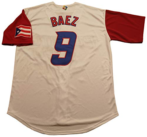 Kooy Lindor #12 Baez #9 Puerto Rico World Classic Baseball Jersey Men Adult (#9 Baez, Large)