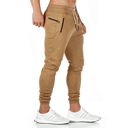 Yageshark Herren Jogginghose Sporthose Baumwolle Fitness Slim Fit Hose Freizeithose Joggers Streetwear (Khaki, Large)