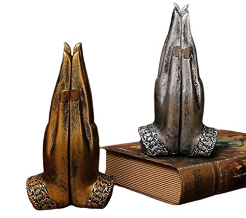 Thai Decor Resin Zen Buddha Hand Sculpture with 2 Artistic Peaceful Buddha Statues Poses in Palms, 1 Pair (Silver)