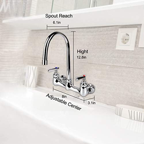 KWODE Wall Mount Faucet 8 Inch Center Commercial Kitchen Sink Faucet with 6