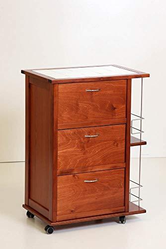 Mobiletto da Cucina Dotato di Ruote con Ante a ribalta portabottiglie Laterale e Piano in mattonelle (Ciliegio)