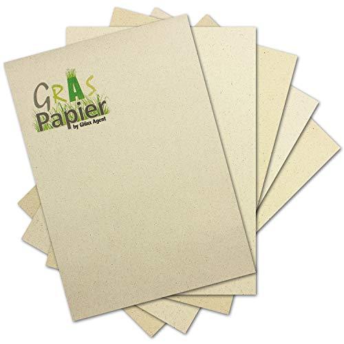 50x ÖKO Briefpapier aus Graspapier DIN A4 - Recycling Papier 200 g/m² - Umwelt Bastelpapier für Einladungen oder Menükarte - Glüxx Agent