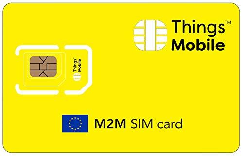 DATEN-SIM-Karte M2M EUROPA - Things Mobile - mit weltweiter Netzabdeckung und Mehrfachanbieternetz GSM/2G/3G/4G. Ohne Fixkosten und ohne Verfallsdatum. 10 € Guthaben inklusive