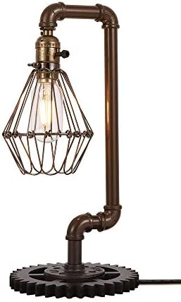 Vintage Iron Pipe Desk Lamp Rustic Industrial Metal cage Table Lamp E27 Holder Fitting Table product image