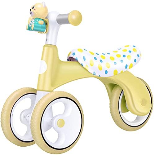 YGTMV 2021 Bicicleta De Equilibrio,para Bebé, Sin Pedales, Triciclo, Juguetes De Conducción,Andador De Aprendizaje para Bebé, Patinete De Equilibrio Sin Freno De Mano,Amarillo