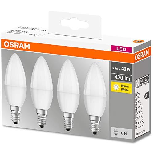 Osram LED Base Classic B Lampada, a Forma di Candela con Attacco E14, non dimmerabile, Sostituisce 5,0W = 40 watt, opaca, Bianco Caldo, 2700 Kelvin, Confezione da 4