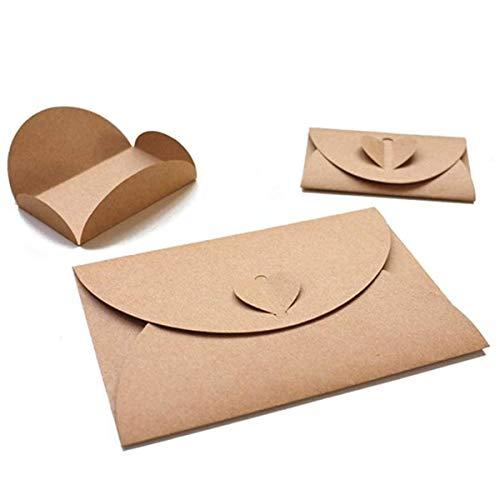 100PCS Mini Gift Card Envelopes, Handmade Seed Envelopes Bulk Cute Kraft Paper Envelopes Holders with Heart Clasp for Wedding Hotel Name Cards Thank You Notes Flower Arrangements
