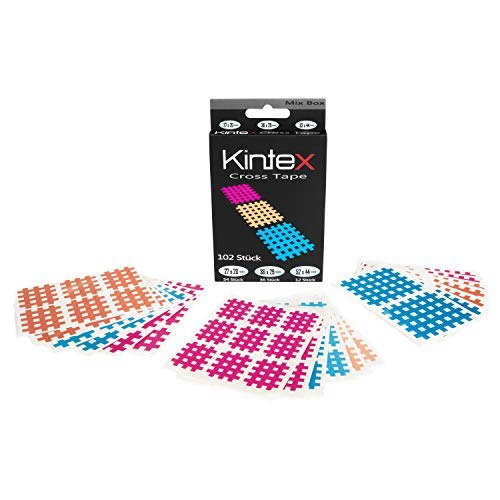 Kintex Cross-Tape Mix-Box 102 Pflaster gemischt, (beige, blau, pink), mixed, Akkupunktur, Trigger, Schmerzpunkt, Gitter-Pflaster