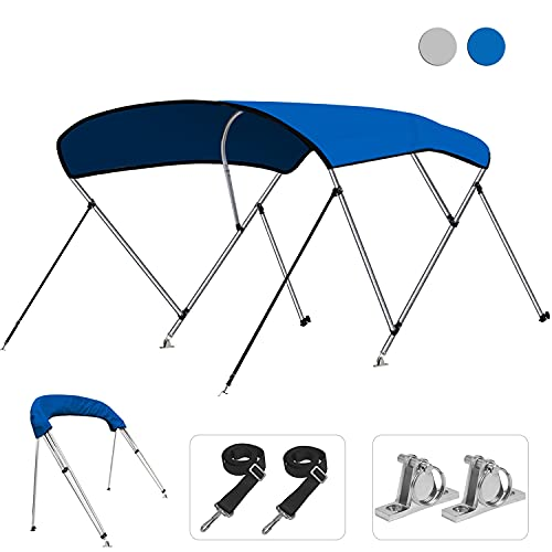 KAKIT 750D 3 4 Bow Bimini Top Boat Cover with 2 Rear Support Poles + 4 Quick Release Deck Mounts + 2...