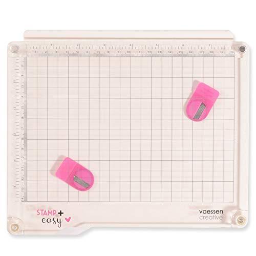 Vaessen Creative Stamp Easy+ Stempelhilfe mit Abnehmbaren Deckel, Stempelwerkzeug zum Positionieren von Stempeln aller Art, Basteln mit Papier, Karten Gestalten und Scrapbooking