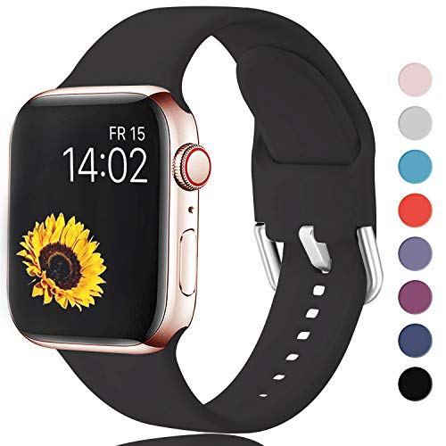 Sichen Replacement Strap Compatible with Apple Watch Strap 40mm 38mm, Soft Silicone Waterproof Bracelet Strap Wrist Bands for Apple Watch SE/iWatch Series 6/5/4/3/2/1, 38mm/40mm-S/M,Black