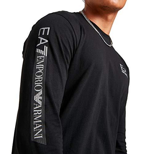 Emporio Armani Maglietta Uomo EA7 3ZPTB6 PJ02Z, T-Shirt Manica Lunga, Girocollo (Nero, L)