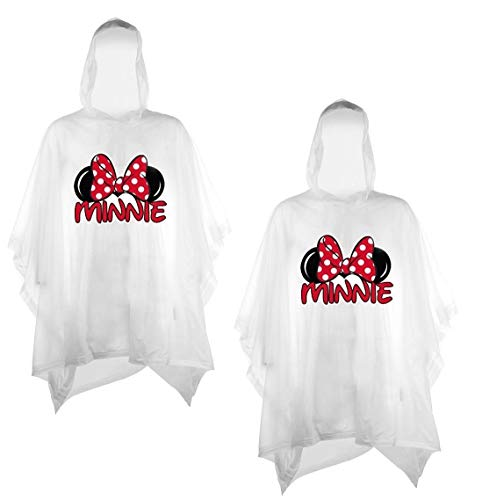 Disney 2-Pack Family Rain Ponchos, Mickey Or Minnie Mouse, Adult & Youth (Minnie-Minnie, Youth)