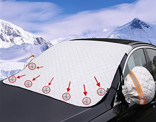 KinHwa Frontscheibenabdeckung mit 7 Magneten und Spiegelabdeckungen, Auto Scheibenabdeckung Windschutzscheibe Frostschutz Faltbare Abnehmbare für Schnee, Frost, Eiss, Staub, Dreck, Sonne