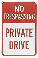 白金属錫パーキングサインには、私設ドライブレッドトレッキング
