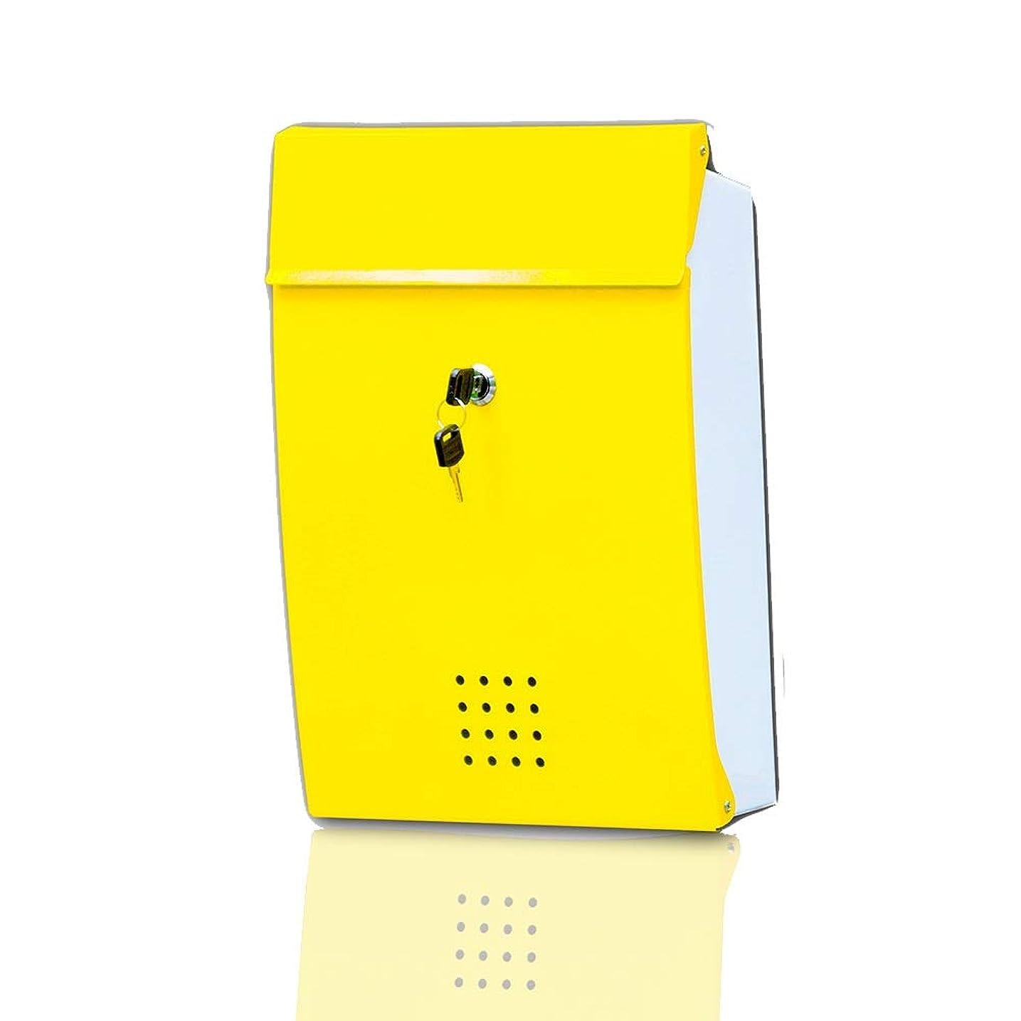 暴徒また明日ね困惑するLILIS メールボックス 郵便受け ブリキ皮膚レターボックス別荘のメールボックス2色のモザイクアメリカの新聞ボックス壁屋外防水レターボックスの受信トレイ (Color : Yellow)