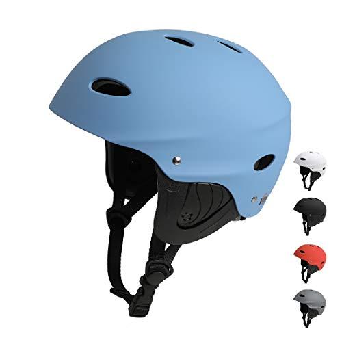 Vihir BMX Helm Wakeboard Helm Skaterhelm Fahrradhelm Herren Damen Jungs & Kinderhelm Wassersport Helm mit Ohrenschützer ABS+Eva (M 54-59CM, Blau)