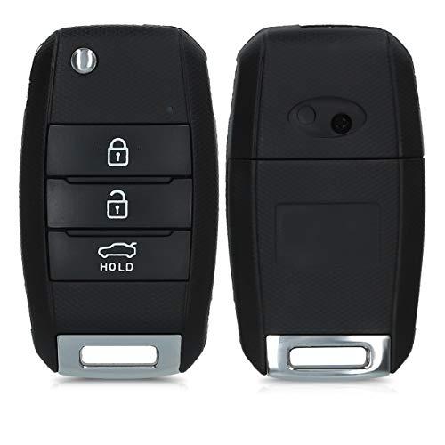 kwmobile Autoschlüssel Gehäuse kompatibel mit Kia 3-4-Tasten Autoschlüssel - ohne Transponder Batterien Elektronik - Auto Schlüsselgehäuse - Schwarz