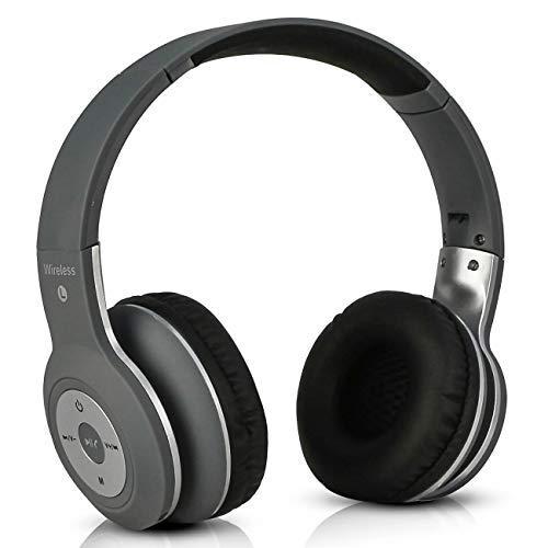 Fone De Ouvido Bluetooth Headphone Estéreo Wireless Dobrável com Entrada Cartão Sd P2 (Cinza/Branco)